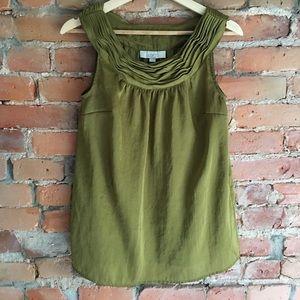 LOFT sleeveless blouse in olive green
